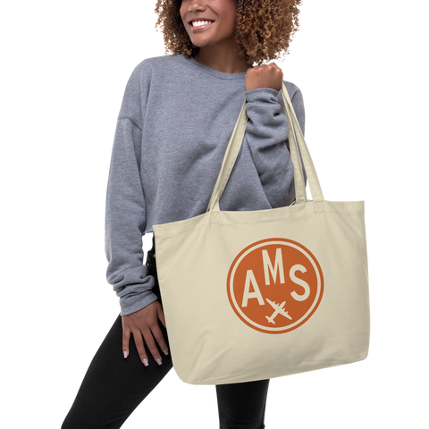 YHM Designs - AMS Amsterdam Airport Code Large Organic Cotton Tote Bag - Lady