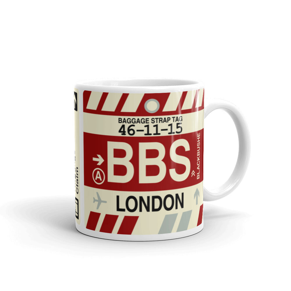YHM Designs - BBS London, England (UK) Airport Code Coffee Mug - Graduation Gift, Housewarming Gift - Right