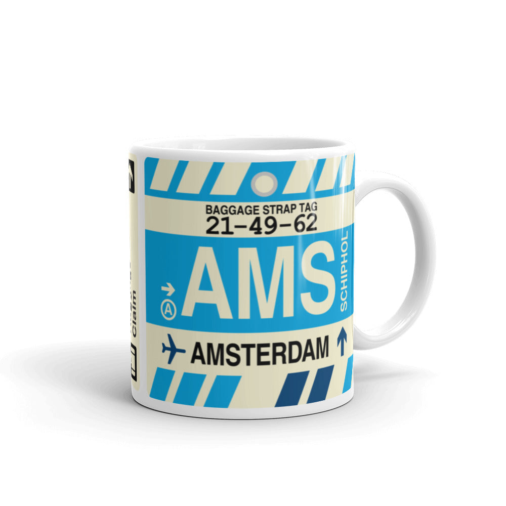YHM Designs - AMS Amsterdam Airport Code Coffee Mug - Graduation Gift, Housewarming Gift - Right