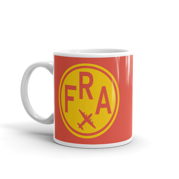 YHM Designs - FRA Frankfurt Airport Code Vintage Roundel Coffee Mug - Birthday Gift, Christmas Gift - Yellow and Red - Left