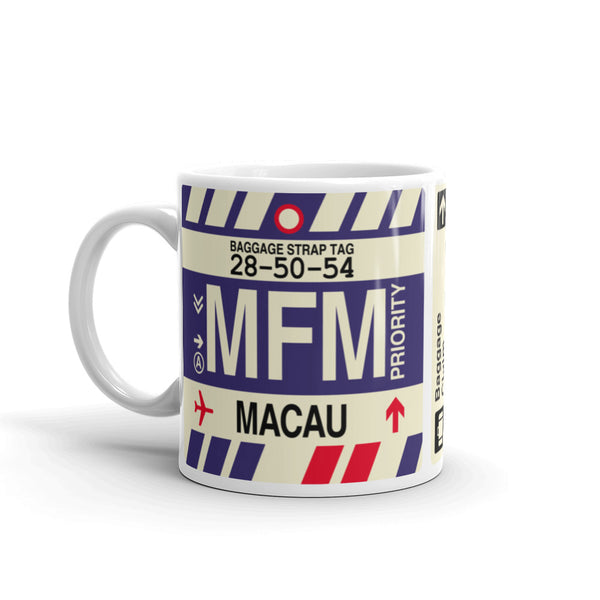 YHM Designs - MFM Macau Airport Code Coffee Mug - Birthday Gift, Christmas Gift - Left