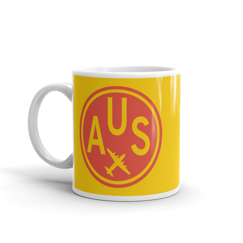 YHM Designs - AUS Austin Airport Code Vintage Roundel Coffee Mug - Birthday Gift, Christmas Gift - Red and Yellow - Left