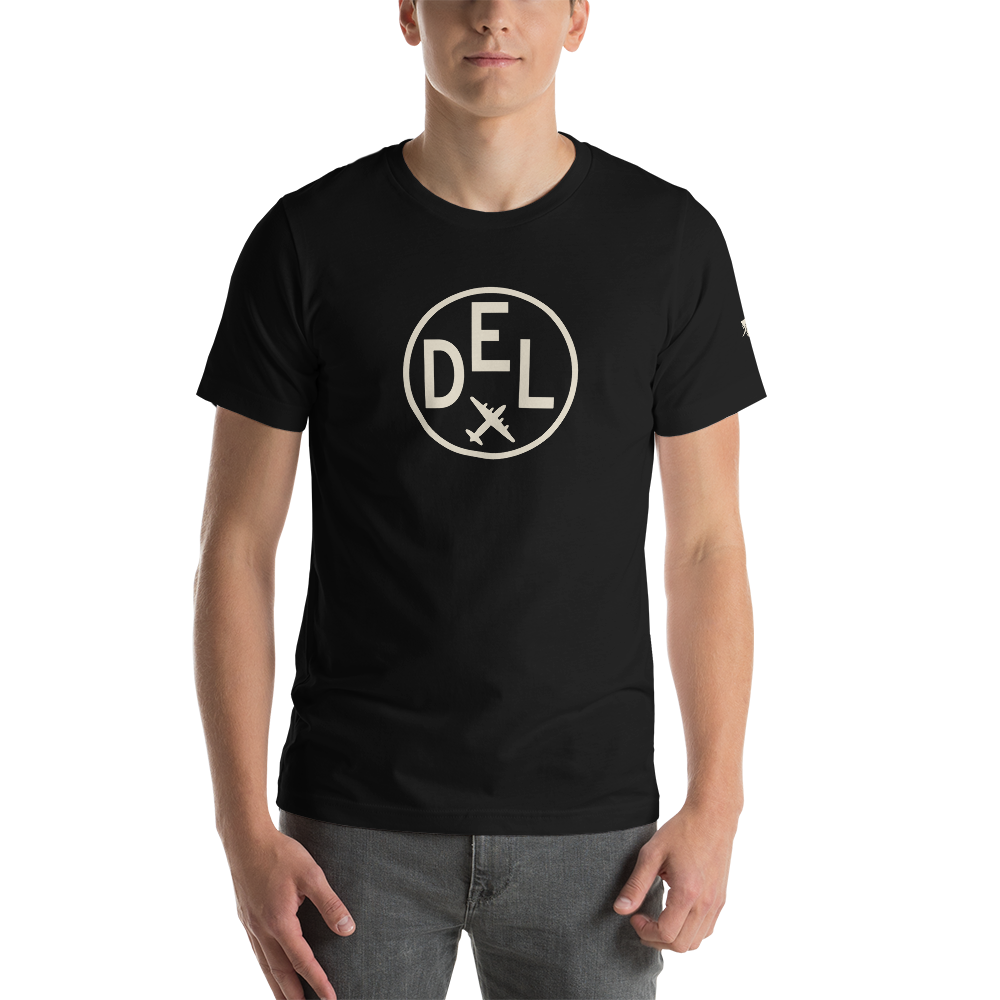 YHM Designs - DEL Delhi Airport Code T-Shirt - Adult - Black - Birthday Gift