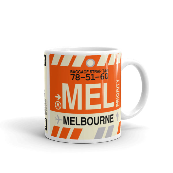 YHM Designs - MEL Melbourne, Australia Airport Code Coffee Mug - Graduation Gift, Housewarming Gift - Right
