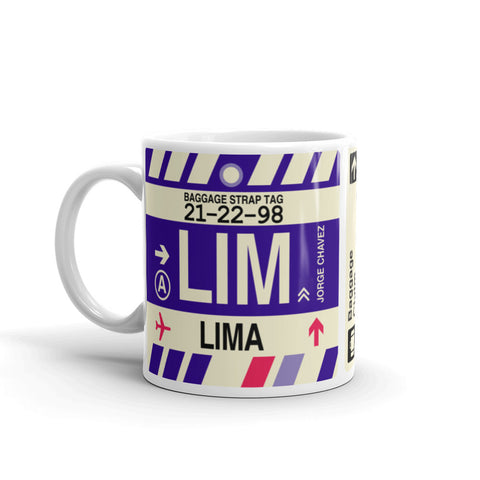 YHM Designs - LIM Lima, Peru Airport Code Coffee Mug - Birthday Gift, Christmas Gift - Left