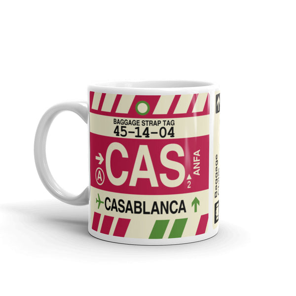 YHM Designs - CAS Casablanca, Morocco Airport Code Coffee Mug - Birthday Gift, Christmas Gift - Left