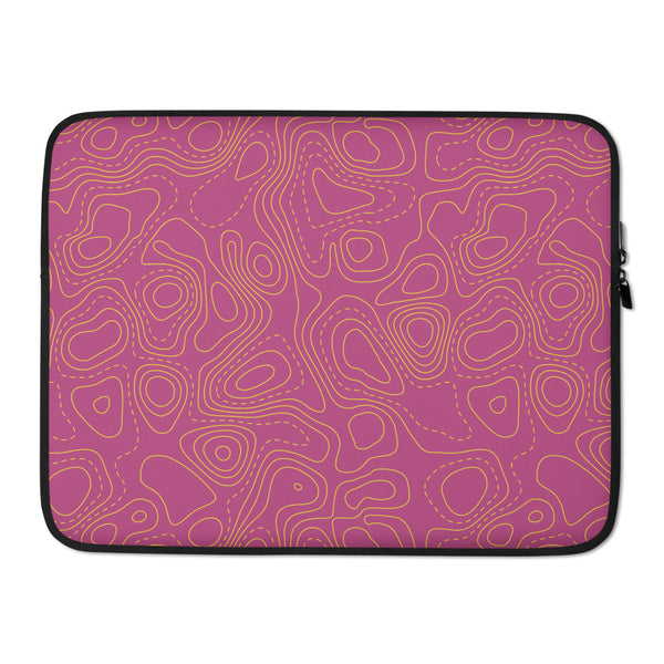 YHM Designs - Contour Map Laptop Sleeve • Fuchsia 3