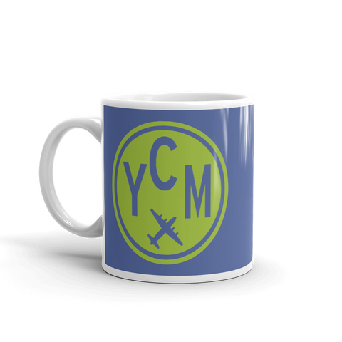 YHM Designs - YCM St. Catharines Airport Code Vintage Roundel Coffee Mug - Birthday Gift, Christmas Gift - Green and Blue - Left