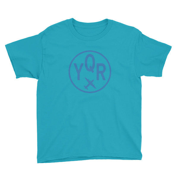 YHM Designs - YQR Regina T-Shirt - Airport Code and Vintage Roundel Design - Child Youth - Caribbean blue - Gift for Kids