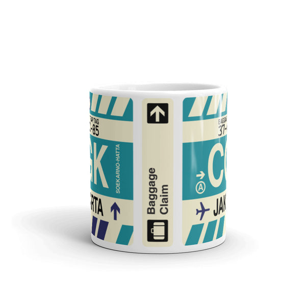 YHM Designs - CGK Jakarta Airport Code Coffee Mug - Teacher Gift, Airbnb Decor - Side