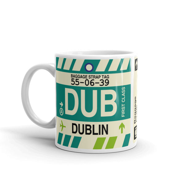 YHM Designs - DUB Dublin, Ireland Airport Code Coffee Mug - Birthday Gift, Christmas Gift - Left