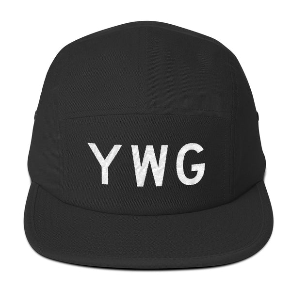 YHM Designs - YWG Winnipeg Airport Code Camper Hat - Black - Front - Student Gift