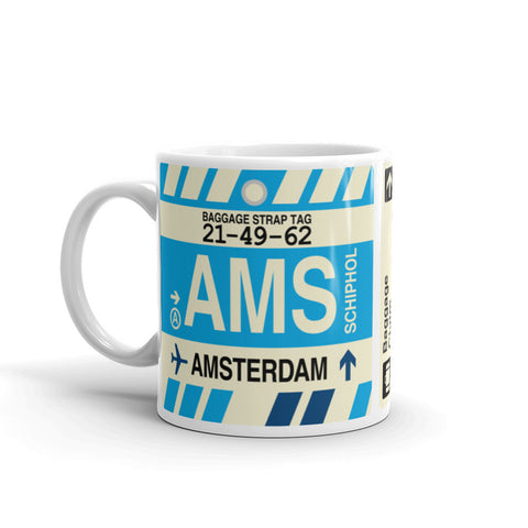 YHM Designs - AMS Amsterdam, the Netherlands Airport Code Coffee Mug - Birthday Gift, Christmas Gift - Left