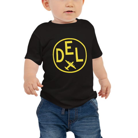 YHM Designs - DEL Delhi Airport Code T-Shirt - Baby Infant - Boy's or Girl's Gift