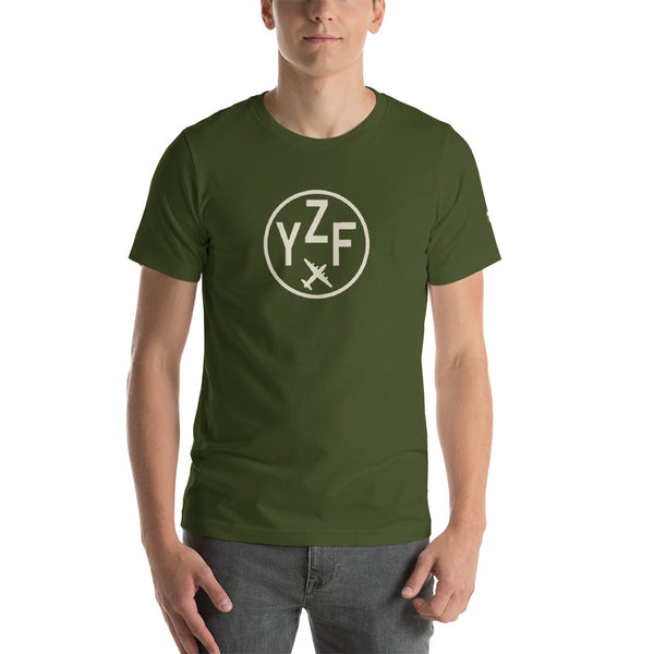 YHM Designs - YZF Yellowknife T-Shirt - Airport Code and Vintage Roundel Design - Adult - Olive Green - Birthday Gift