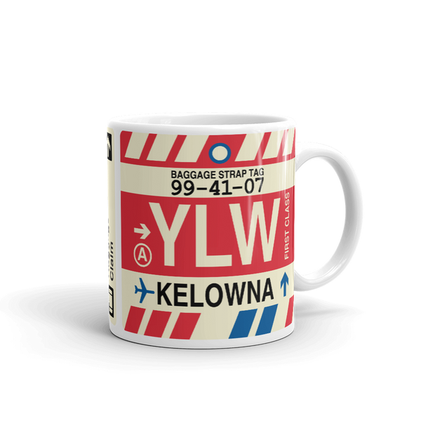 YHM Designs - YLW Kelowna Airport Code Coffee Mug - Teacher Gift, Airbnb Decor - Side