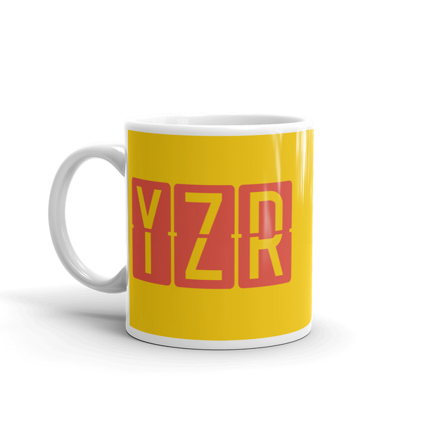 YHM Designs - YZR Sarnia, Ontario Airport Code Coffee Mug - Birthday Gift, Christmas Gift - Red and Yellow - Left