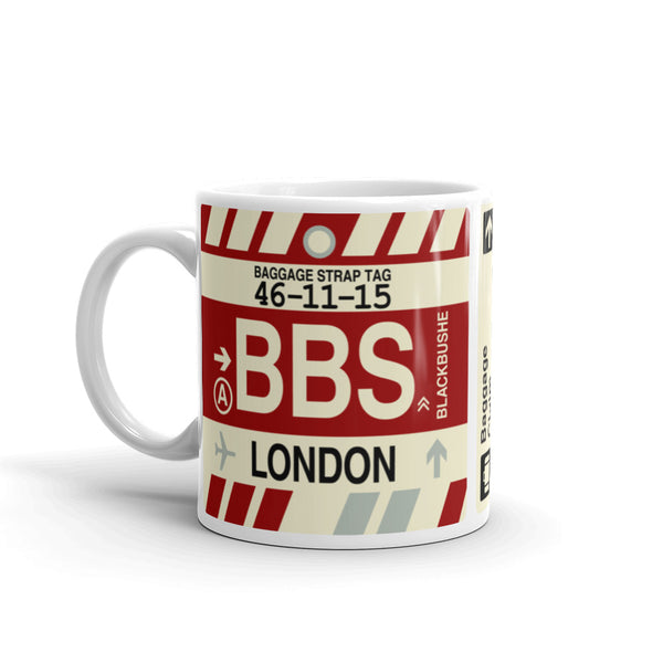 YHM Designs - BBS London, England (UK) Airport Code Coffee Mug - Birthday Gift, Christmas Gift - Left