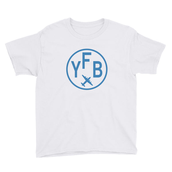 YHM Designs - YFB Iqaluit T-Shirt - Airport Code and Vintage Roundel Design - Child Youth - White - Gift for Grandchild