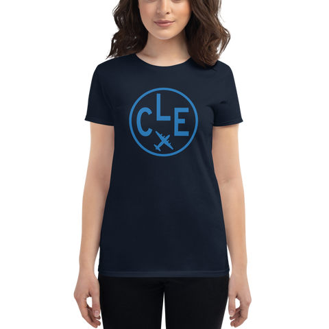 YHM Designs - CLE Cleveland Airport Code T-Shirt - Women's - Birthday Gift