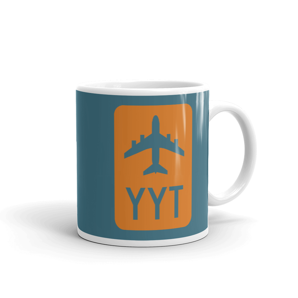 YHM Designs - YYT St. John's Airport Code Jetliner Coffee Mug - Graduation Gift, Housewarming Gift - Orange and Teal - Right