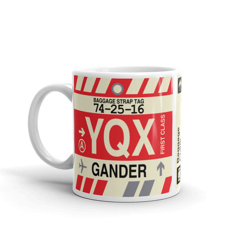 YHM Designs - YQX Gander, Newfoundland and Labrador Airport Code Coffee Mug - Birthday Gift, Christmas Gift - Left