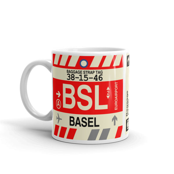 YHM Designs - BSL Basel, Switzerland Airport Code Coffee Mug - Birthday Gift, Christmas Gift - Left
