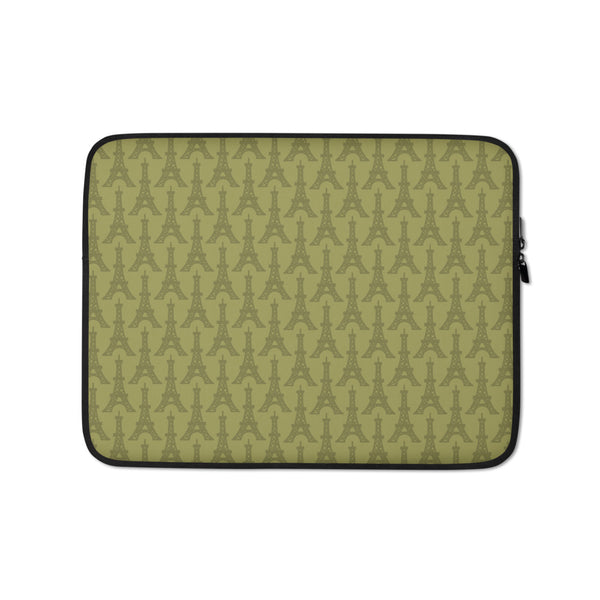 YHM Designs - Eiffel Tower Laptop Sleeve • Light Moss Green 1