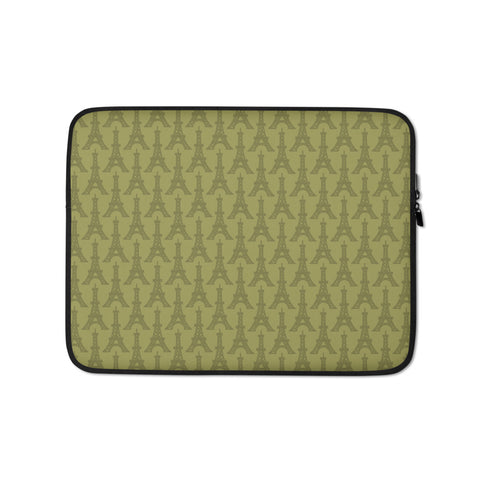 Eiffel Tower Laptop Sleeve • Light Moss Green