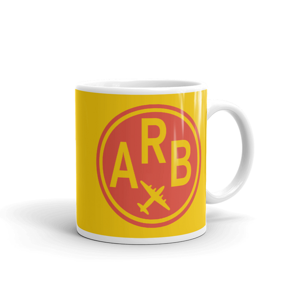 YHM Designs - ARB Ann Arbor Airport Code Vintage Roundel Coffee Mug - Graduation Gift, Housewarming Gift - Red and Yellow - Right
