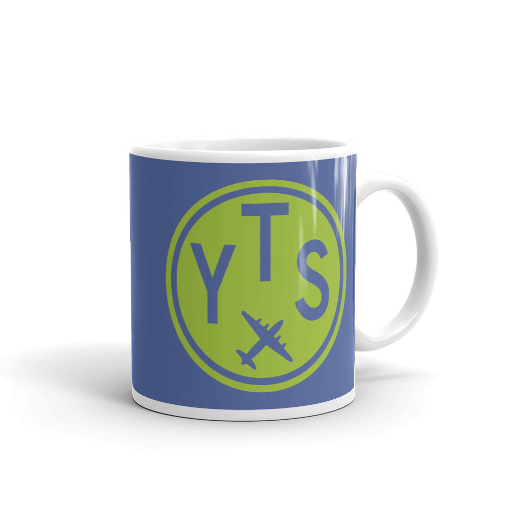 YHM Designs - YTS Timmins Airport Code Vintage Roundel Coffee Mug - Graduation Gift, Housewarming Gift - Green and Blue - Right