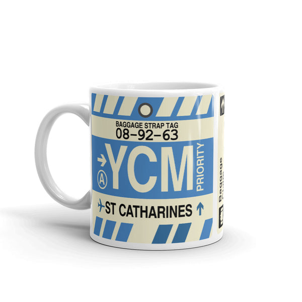 YHM Designs - YCM St. Catharines Airport Code Coffee Mug - Birthday Gift, Christmas Gift - Left