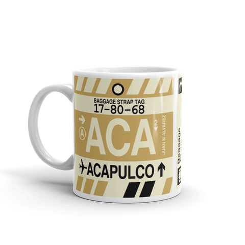 YHM Designs - ACA Acapulco Airport Code Coffee Mug - Travel Theme Drinkware and Gift Ideas - Right