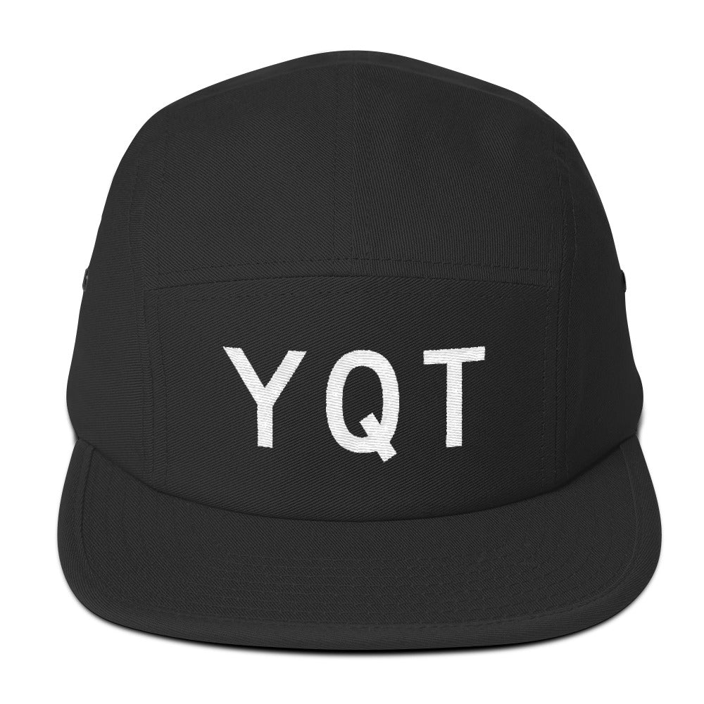 YHM Designs - YQT Thunder Bay Airport Code Camper Hat - Black - Front - Student Gift