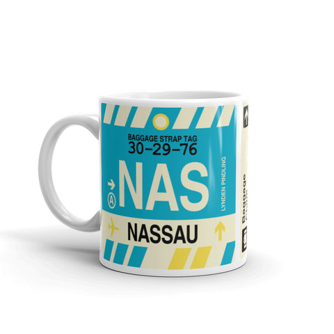 YHM Designs - NAS Nassau, Bahamas Airport Code Coffee Mug - Birthday Gift, Christmas Gift - Left