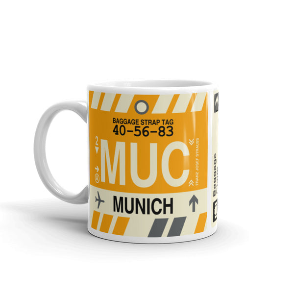YHM Designs - MUC Munich, Germany Airport Code Coffee Mug - Birthday Gift, Christmas Gift - Left