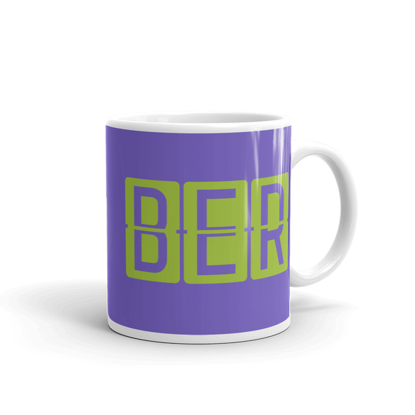 YHM Designs - BER Berlin Airport Code Split-Flap Display Coffee Mug - Graduation Gift, Housewarming Gift - Green and Purple - Right