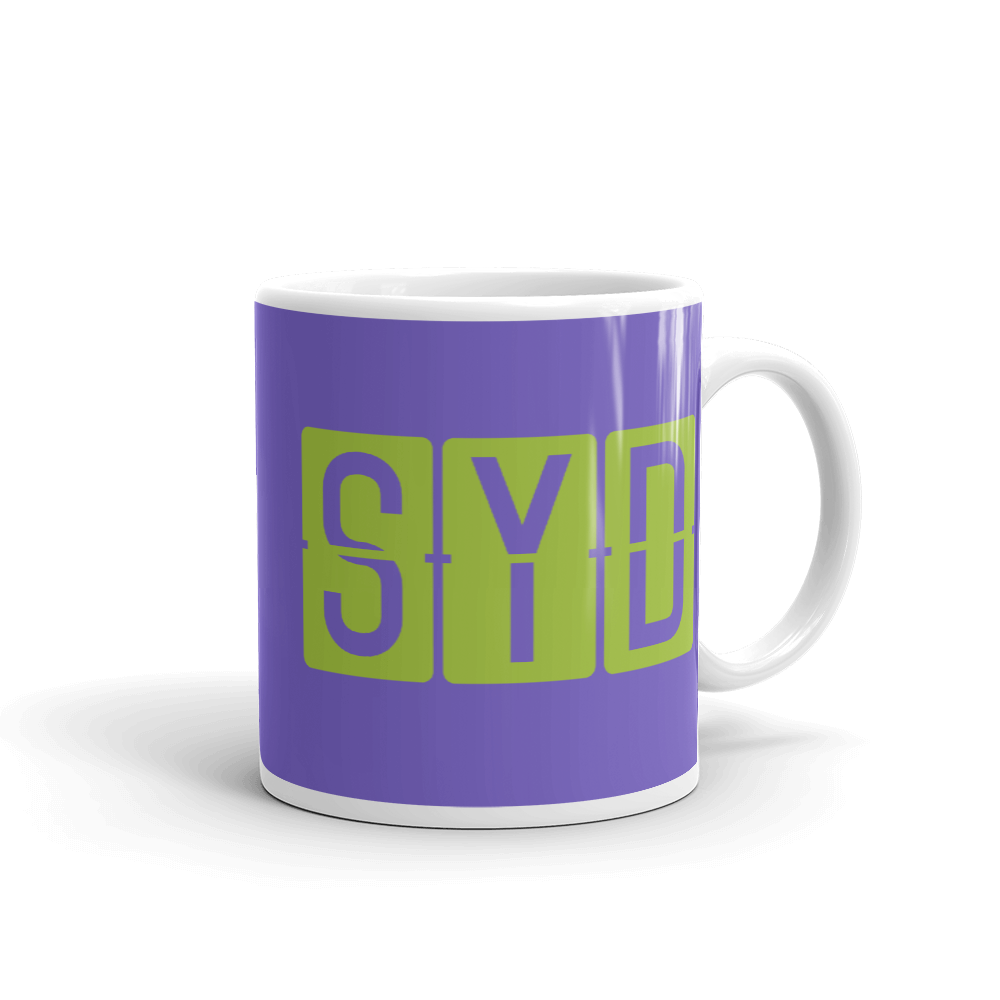 YHM Designs - SYD Sydney Airport Code Split-Flap Display Coffee Mug - Graduation Gift, Housewarming Gift - Green and Purple - Right