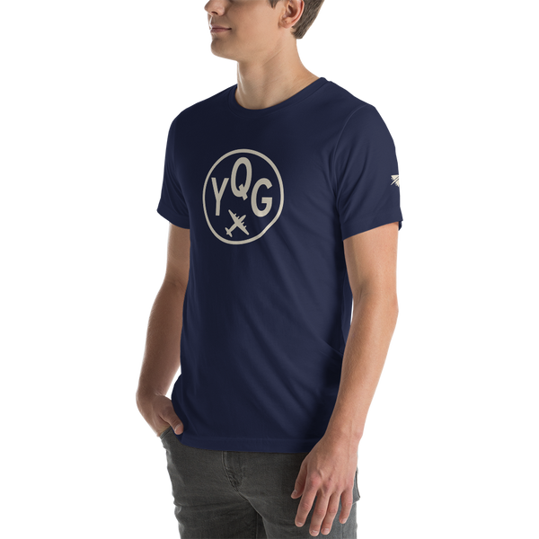 YHM Designs - YQG Windsor Airport Code T-Shirt - Adult - Navy Blue - Gift for Dad or Husband