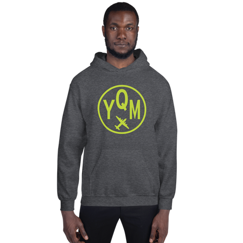 YHM Designs - YQM Moncton Airport Code Hoodie with Roundel Design - Dark Heather - Front