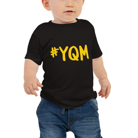 YHM Designs - YQM Moncton Airport Code Hashtag Design T-Shirt - Baby Infant - Boy's or Girl's Gift