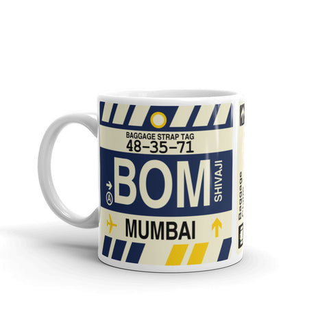 YHM Designs - BOM Mumbai Airport Code Coffee Mug - Birthday Gift, Christmas Gift - Left