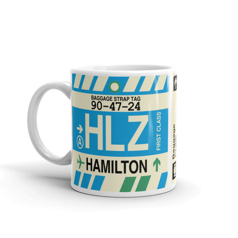 YHM Designs - HLZ Hamilton, New Zealand Airport Code Coffee Mug - Birthday Gift, Christmas Gift - Left