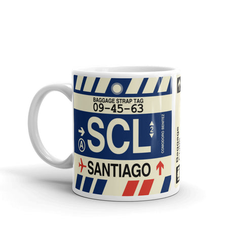 YHM Designs - SCL Santiago, Chile Airport Code Coffee Mug - Birthday Gift, Christmas Gift - Left