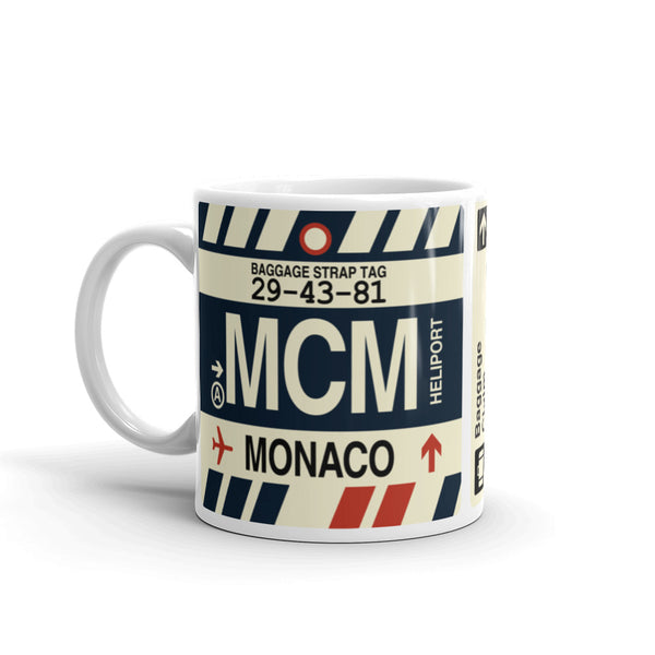 YHM Designs - MCM Monte Carlo Airport Code Coffee Mug - Birthday Gift, Christmas Gift - Left