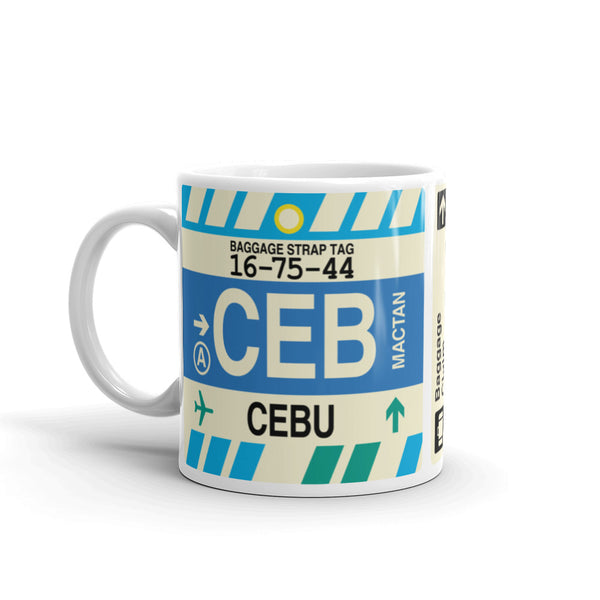 YHM Designs - CEB Cebu, Philippines Airport Code Coffee Mug - Birthday Gift, Christmas Gift - Left