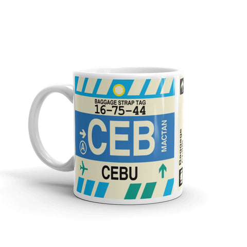 YHM Designs - CEB Cebu Airport Code Coffee Mug - Birthday Gift, Christmas Gift - Left
