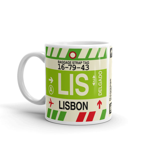 YHM Designs - LIS Lisbon Airport Code Coffee Mug - Birthday Gift, Christmas Gift - Left