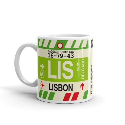 YHM Designs - LIS Lisbon, Portugal Airport Code Coffee Mug - Birthday Gift, Christmas Gift - Left