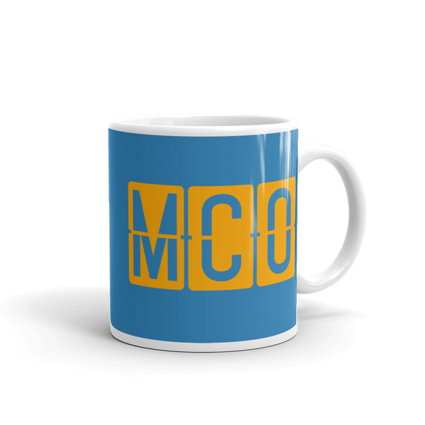 YHM Designs - MCO Orlando Airport Code Split-Flap Display Coffee Mug - Graduation Gift, Housewarming Gift - Orange and Blue - Right